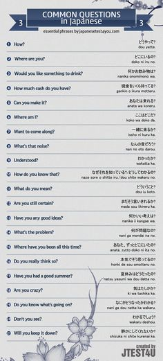 Infographic: common questions in Japanese part 3. http://japanesetest4you.com/infographic-common-questions-in-japanese-part-3/