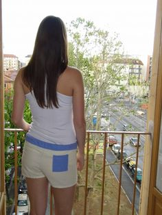 Our shorts on the balcony in Italy.