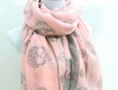 Pink+Abtract+Skull++Gray+Skull+Aztec+Scarf+by+dailyaccessoriez,+$12.99