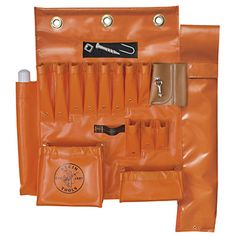 Klein Tools Aerial Apron with Hot Stick Pocket and Magnet Sewn-in magnet design 10 Hand tool pockets 2 Pouches and hammer loop Reinforced with heavy duty rivets Large pouch Tool Pouch, Belt Pouch, Tool Belt, Lineman Tools, Drill Bit Holder, Tool Apron, Belt Storage, Tool Board, Garden Tool Storage