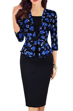 FORTRIC Women 3 4 Sleeve Peplum Orchid Patchwork Working OL Casual Pencil Dress -- Save this wonderfull item : Dresses Sale