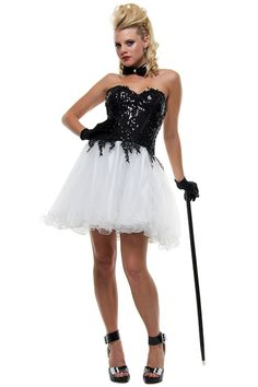 Black & White Sequin and Puff Tulle Party Prom Dress - XS to XL - Unique Vintage - Prom dresses, retro dresses, retro swimsuits.