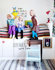 dosfamily kids and their room. Bed with storage underneath and a hiding place. You can also spy on people through the painted picture. Ikea stepping stool BEKVÄM and kitchen cabinets FAKTUM