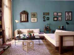 Oval Room Blue by Farrow and Ball is closest to Benjamin Moore Mystic Lake… Mehr Oval Room Blue, Blue Rooms, White Rooms, Blue Walls, Living Spaces, Living Room, Drawing Room, House Colors, Sweet Home