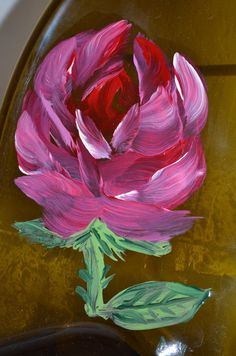Hand Painted Red Rose Amber Glass Wine Bottle Cheese by oldcargirl, $31.00