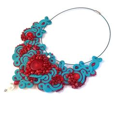 Turquoise soutache necklace Ariel with natural red by Lolissa