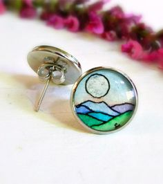 Moon Over the Blue Ridge Earrings -- Hand Painted Post Earrings | Sarah-Lambert Cook