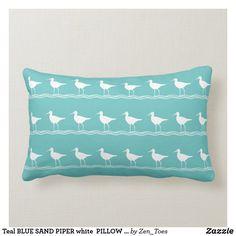 Teal BLUE SAND PIPER white  PILLOW coastal Custom Throw Pillow, Decorative Pillows Couch, Personalized Decorative Pillow, White Pillows, Blue And White Pillows, Pillows, Blue Pillows, Blue Pillows Decorative, Nautical Theme Decor