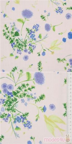 light peach double-gauze fabric with blue, periwinkle flowers, with green leaves, birds, Material: 100% cotton, Fabric Type: light delicate double-layered gauze fabric #DoubleGauze #Flower #Leaf #Plants #JapaneseFabrics