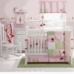 Color Scheme for girl room: light green walls, light pink main for fabric, red in ladybugs, and black furniture.