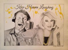 """Robin Williams & Joan Rivers, 11""""x15"""", Graphite and Watercolor on BFK Rives paper, 2014"""