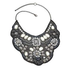 Topshop Stone and Sequin Bib Necklace in Black $45