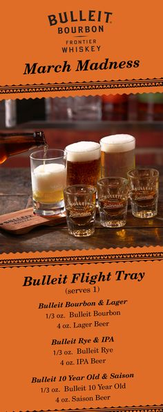 This selection of game day drinks has something for whiskey lovers and beer lovers alike. 3 bourbons. 3 complimentary beers. For Bulleit Bourbon, try a light lager. For Bulleit Rye, reach for a hoppy IPA. And, for Bulleit Bourbon 10 Year Old, pair it with a fruity Saison.
