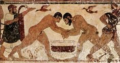 This painting is from the burials at Tarquinia where a large number of Etruscan frescoed tombs have been found and opened to the public. The ancient Etruscans are known for having passed on to the ancient Romans the concept and love of gladiatorial combat, boxing and wrestling as entertainment