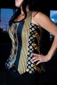Glamarita TIE Me Up TIE Me Down Blue and Gold necktie bustier. @Theresa Zimmerman, this looks to be right up your creative alley!