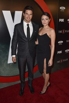 Robbie Amell and Italia Ricci attend the premiere of Fox's 'The X-Files'
