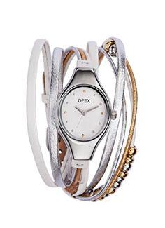 Opex - X2341LE1 - Filante - Montre Femme - Quartz Analogique - Cadran Argent - Bracelet Cuir Multicolore Bracelets, Bracelet Watch, Watches, Amazon Fr, Clock, Accessories, Grey Leather, Analog Signal, Silver