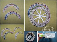 DIY - motor z wikliny papierowej Quiling Paper, Paper Car, Gypsy Wagon, Newspaper Crafts, Paper Flowers, Character Art, Harley Davidson, Origami, Recycling