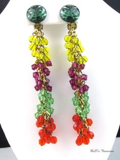 Vintage RUNWAY Long Yellow Purple Green Red Glass Beaded Clip On Dangle Earrings