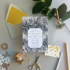 traditional floral wedding invites with gold foil calligraphy   Smitten on Paper