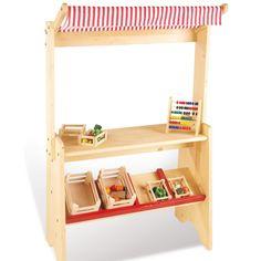 Childrens Little Wooden Play Shop Pretend Play Market Stall Toy Shop Supermarket
