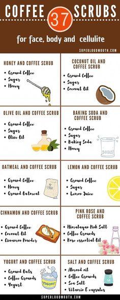 37 Diy Coffee Scrub Recipes for a Beautiful Face, Body and Cellulite - # . - 37 diy coffee scrub recipes for a beautiful face, body and cellulite - Beauty Care, Diy Beauty, Beauty Skin, Beauty Hacks, Beauty Ideas, Beauty Guide, Face Beauty, Homemade Beauty, Diy Body Scrub