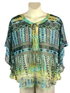 716428c3cea5e Womens Dressbarn Sheer Blouse Plus Size 2X Ties at Neckline Batwing Sleeves   Dressbarn  Blouse
