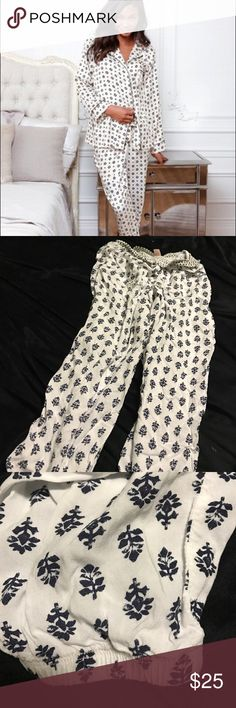 Victoria's Secret soft & comfy lounge pajama pants New but tags fell off and they don't fit me and now I can't return but they are so cute and cozy! White and navy or black pattern, I can't really tell. These are flowy soft material, with an elastic waistband and elastic around ankles so it can be pulled up and worn as a crop. They have little leaves leaf flowers trees pinecone print. First pic has sold. Bundle to save on shipping. Offers welcome. Thank you for contributing to my Lyme…