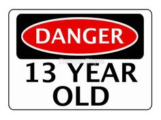 DANGER 13 YEAR OLD FAKE FUNNY BIRTHDAY SAFETY SIGN Greeting Card By DangerSigns