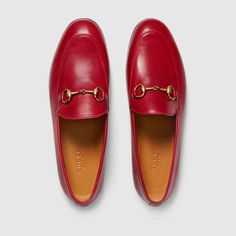 Shop the Gucci Jordaan leather loafer by Gucci. The Gucci Jordaan is our new classic Horsebit loafer with a slimmer shape and Horsebit. Red Loafers, Loafers Outfit, Leather Loafers, Red Leather, Pump Shoes, Loafer Shoes, Shoe Boots, Flat Shoes, Stilettos