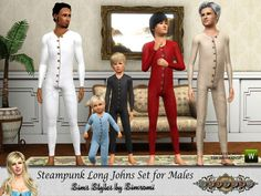 simromi's Fratres Steampunk Long Johns Set ~ PM thru EM toddler to adult all ages long johns underwear sims 3 victorian old west [downloaded]