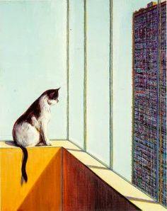 Wayne Thiebaud - Cat and building , 1993 Via Animalarium