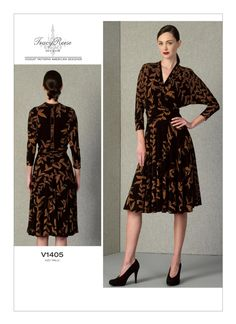 Vogue Sewing Patterns, Bias Tape, Pattern Cutting, Flare Skirt, Dress Brands, Bodice, Wrap Dress, High Neck Dress, Tops
