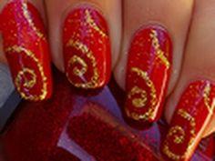 sparkling spirals nail art