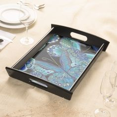 Decorative Teal Butterfly Serving Tray