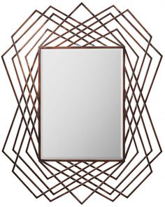 The burnished tones of copper are on trend this season in furniture, lighting and accessories. The Spectre Mirror features an open geometric wire design in burnished copper providing your walls with accent and dimension.