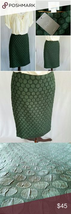NWT Anthropologie pine dot skirt Maeve Goban pencil skirt in forest green with textured polka dot overlay.  Lined with side zip and hook & eye closure.  22.75 inches long; runs large.  Looks great with harvest colors!  Shell 77% polyester, 23% viscose; lining 96% polyester, 4% spandex.  Thanks for visiting my closet; come back soon & see what's new! I add listings every week! Anthropologie Skirts