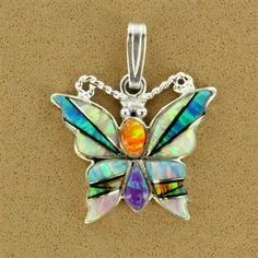 Sterling Silver Created Opal Multi-Stone Butterfly Pendant
