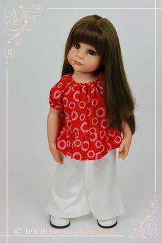 Peasant top and flared trousers for Gotz doll Hannah #gotz #goetz #gotzdoll #swishandswirl