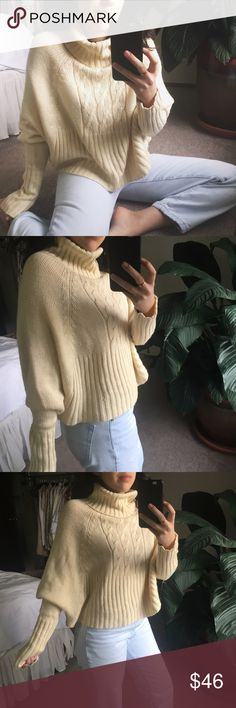 ANTHROPOLOGIE/ cream knit • THE CUE by Cher Qu for Anthropologie • batwing/ dolman style sleeve • gently worn  This gem has the ~cutest~ cropped cut - not too short, but just enough.    SIZE REFERENCE // 5'2 - 34A - S IN TOPS - 4 IN PANTS  ANY OFFERS ARE WARMLY ENCOURAGED  BUNDLE DISCOUNT DEPENDS ON THE ITEMS Anthropologie Sweaters