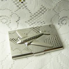 Airplane Card Case -Aviation Metal Card Case - DC-3 Airplane -  Gifts for Men - Credit Card - Business Card Holder