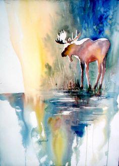 Northland Moose by MJMilbrandt #watercolor #moose