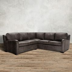 Tanner 95  Two Piece Leather Sectional in Saloon Grey | Arhaus Furniture : arhaus sectional - Sectionals, Sofas & Couches