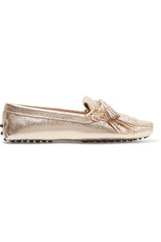 Tod's - Gommino Fringed Metallic Textured-leather Loafers - Gold