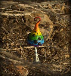 Rainbow fairy garden fantasy mushroom  polymer clay by Petradi