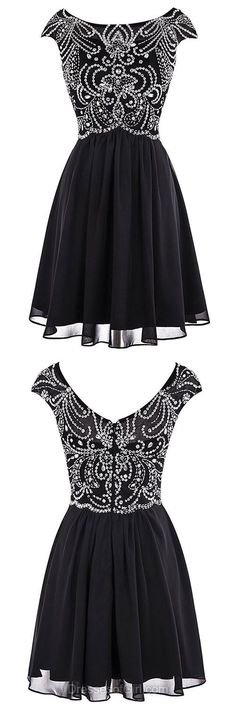 e290ce95eb0 A-line Scoop Neck Chiffon Tulle Short/Mini Beading Black Fashion Prom  Dresses