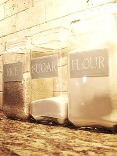 Glass containers with hand painted label