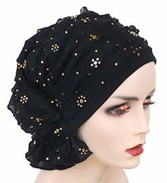 NEW! Abbey Cap 553-Ruffle Black/Gold Flower Sequin - More Details