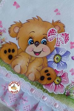 Hermosura sobre tela Baby Painting, Tole Painting, Painting For Kids, Fabric Painting, Teddy Bear Cartoon, Painting Templates, Baby Drawing, Bear Art, Animal Cards