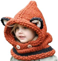 Amazon.com: Girls Shawl Cap Autumn Winter Knitted Cartoon Fox Hat Baby Hats Yellow: Clothing Winter Knit Hats, Warm Winter Hats, Winter Hats For Men, Baby Winter, Crochet Kids Scarf, Knitted Hats Kids, Kids Hats, Kids Beanies, Crochet Hats